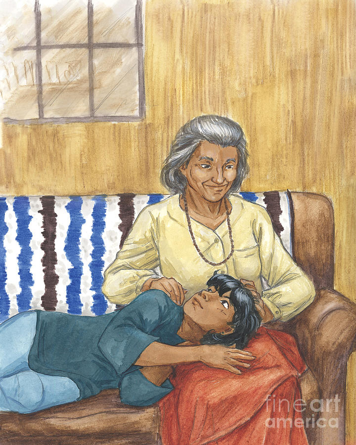 Grandmother Painting - Brother Wolf - Grandmothers Lap by Brandy Woods