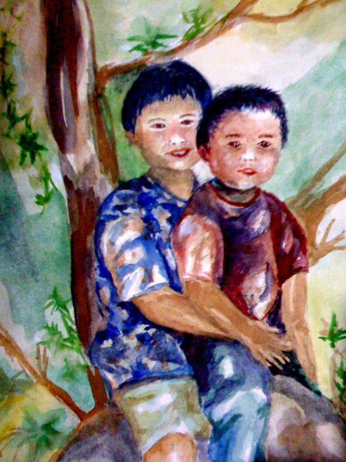 Brothers Painting - Brothers Bonding by Matthew Doronila