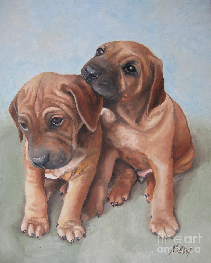Dog Painting - Brothers by Jindra Noewi