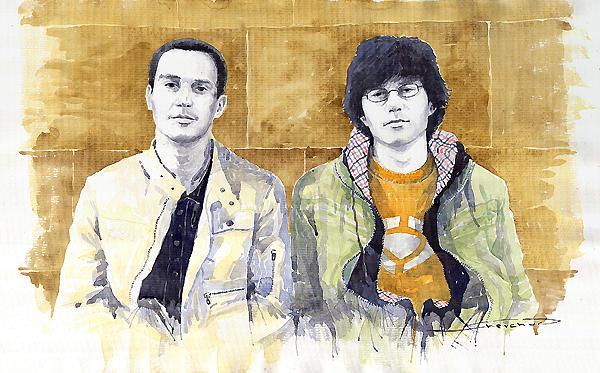 Watercolour Painting - Brothers  by Yuriy  Shevchuk