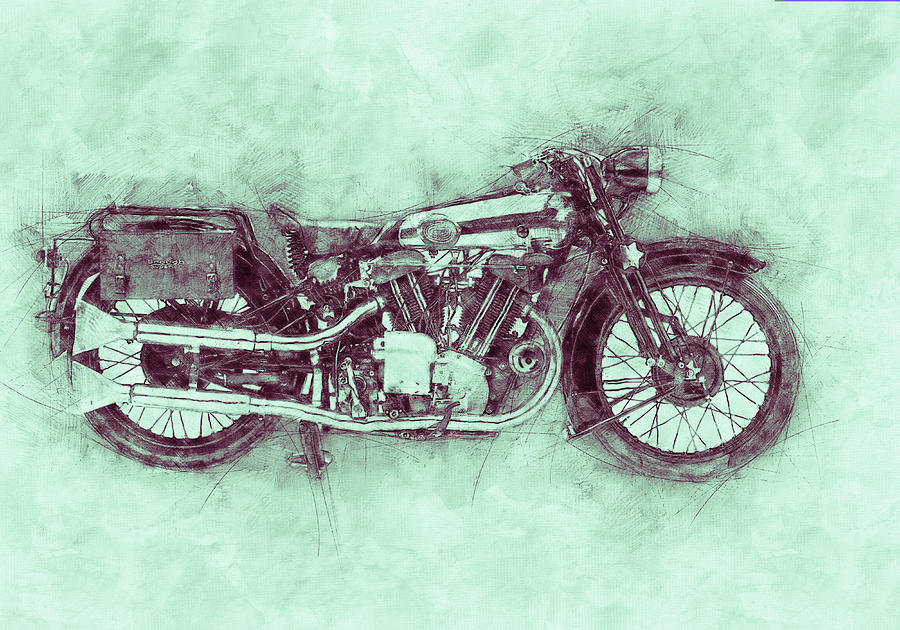 Brough Superior Ss100 - 1924 - Motorcycle Poster 3 - Automotive Art Mixed Media