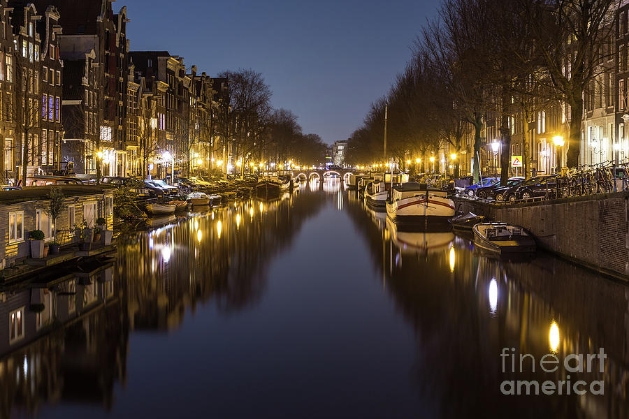 Copy Space Photograph - Brouwersgracht Canal In Amsterdam At Night. by Travel and Destinations - By Mike Clegg