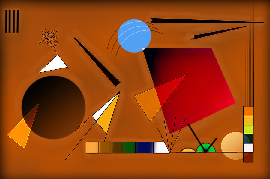 Abstract Digital Art - Brown And Red by Peter Leech