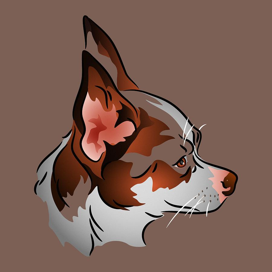 Dog Digital Art - Brown And White Chihuahua In Profile by MM Anderson