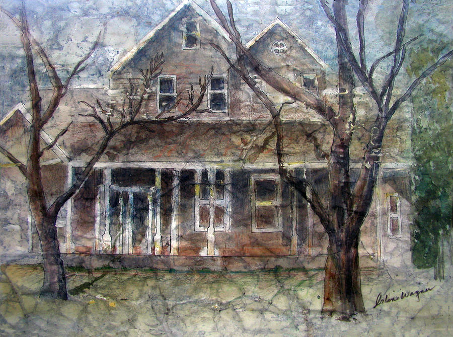 House Mixed Media - Brown Batik House by Arline Wagner