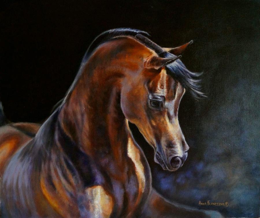 Arabian Horse Painting - Brown beauty - arabian stallion by Anna Franceova