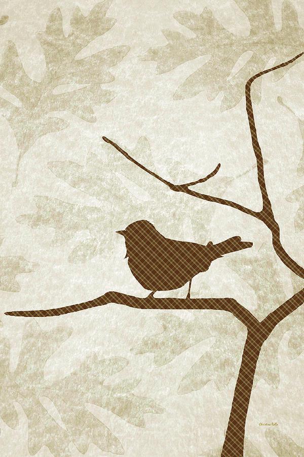 Bird Mixed Media - Brown Bird Silhouette Modern Bird Art by Christina Rollo