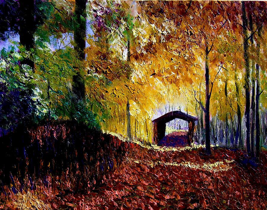 Ridge Painting - Brown County Covered Bridge by Stan Hamilton