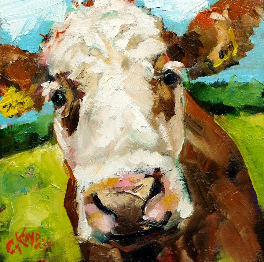 Brown cow painting by claire kayser for Large artwork for sale