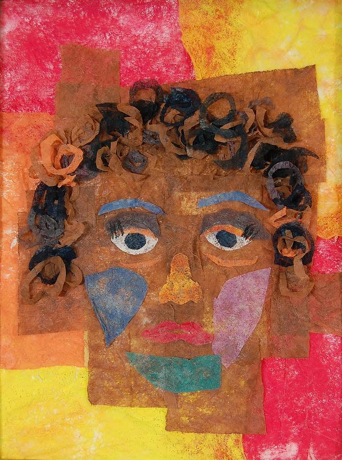 Face Mixed Media - Brown Curls by Charla Van Vlack