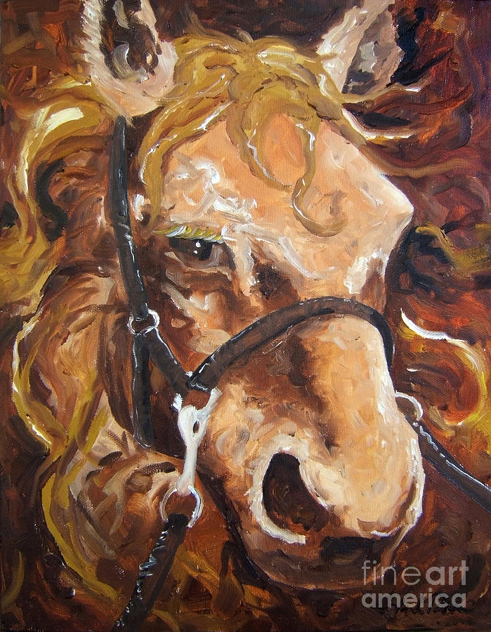 Horse Painting - Brown Eye by Joseph Palotas