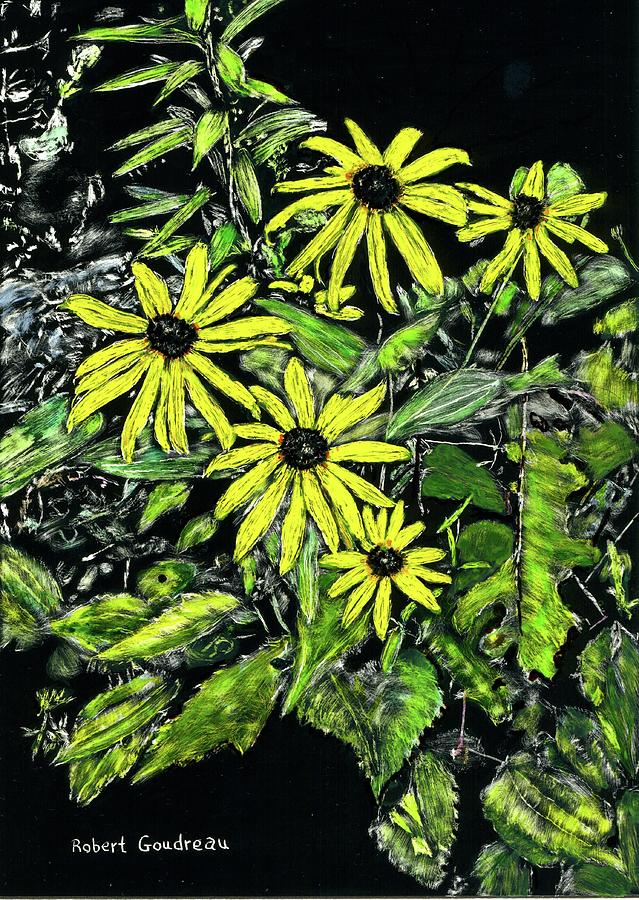 Scratchboard Painting - Brown-eyed Susans II by Robert Goudreau