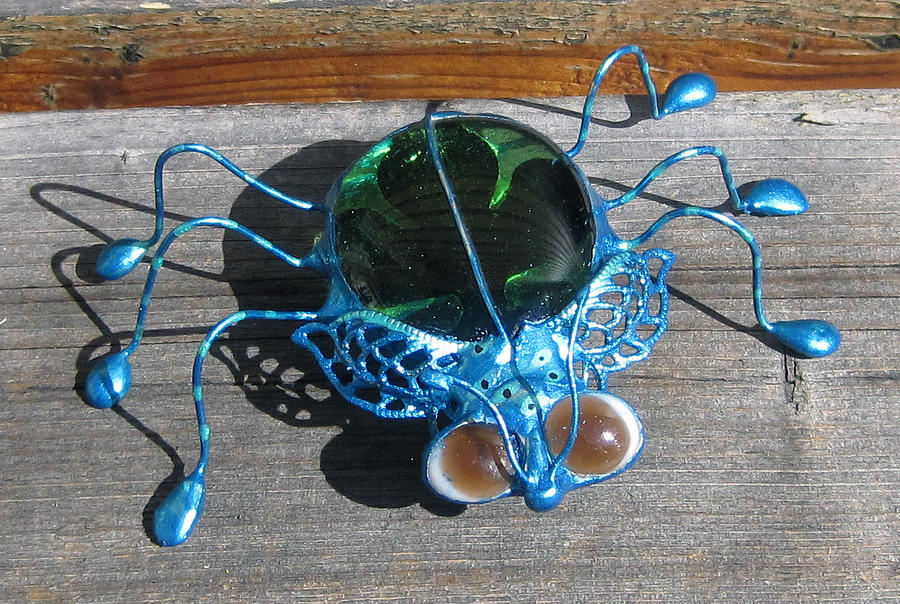 Stain Glass Sculpture - Brown Eyed Teal by Maxine Grossman
