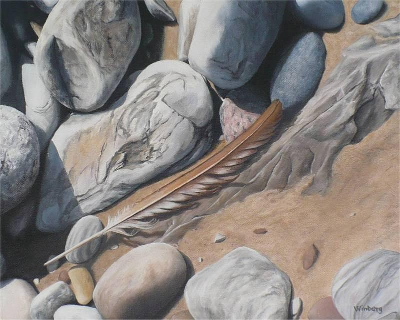 Feather Painting - Brown feather by Peter Winberg