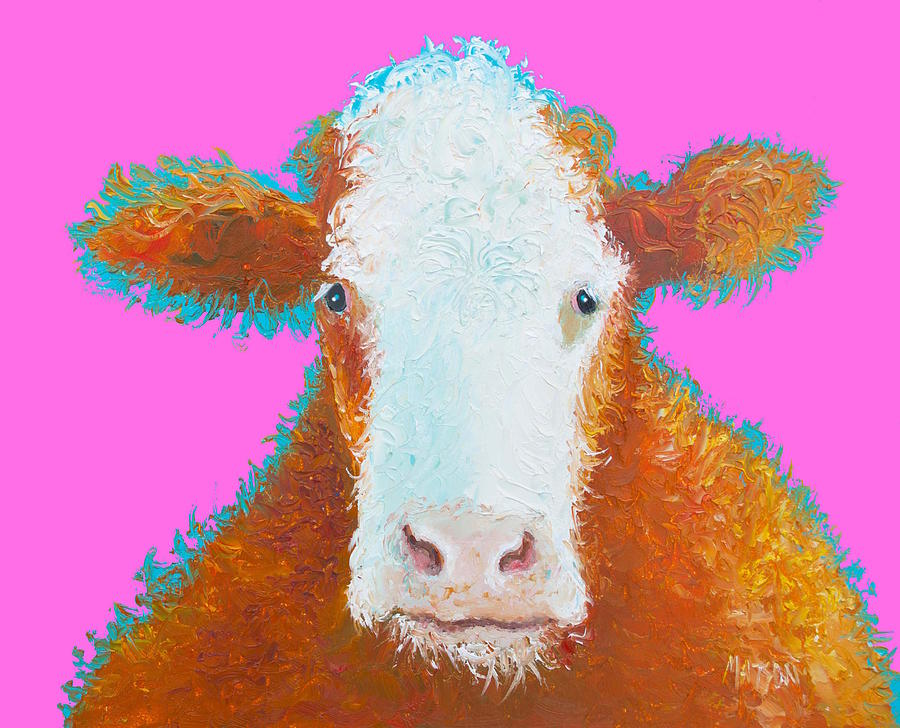 Brown Hereford On Pink Painting