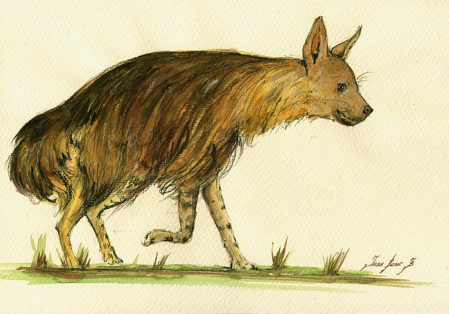 Hyena Animal Painting - Brown Hyena Animal Art by Juan  Bosco