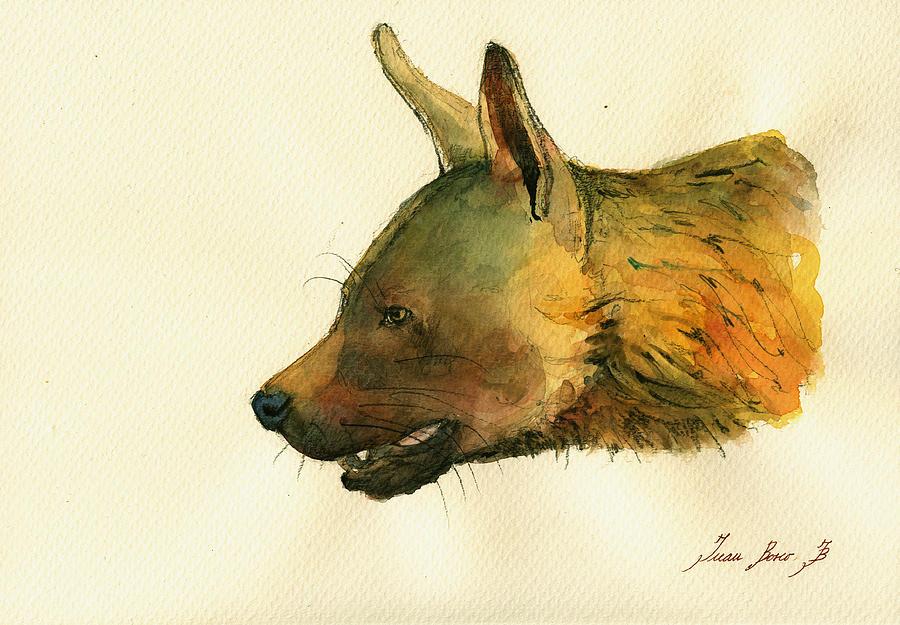 Hyena Animal Painting - Brown Hyena by Juan  Bosco