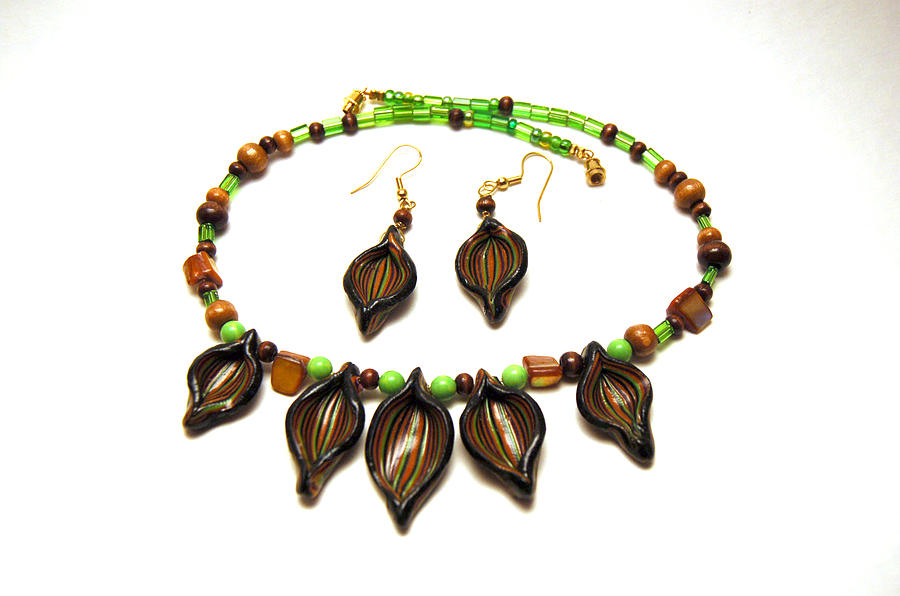 Polymer Jewelry - Brown Leaves Set by Rhonda Harbin