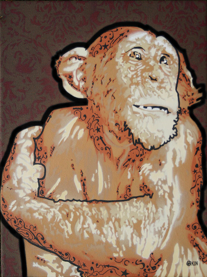 Spray Paint Mixed Media - Brown Monkey by Marshall Okin