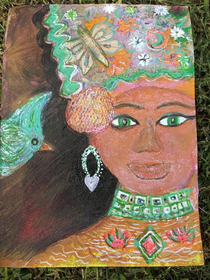 Beauty Mixed Media - Brown Skinned Beauty With Green Eyes by Anne-Elizabeth Whiteway