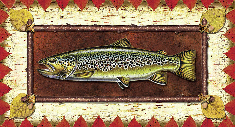 Trout Painting - Brown Trout Lodge by JQ Licensing
