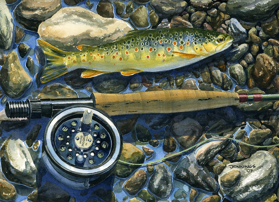 Trout Painting - Brown Trout Rush Creek by Mark Jennings