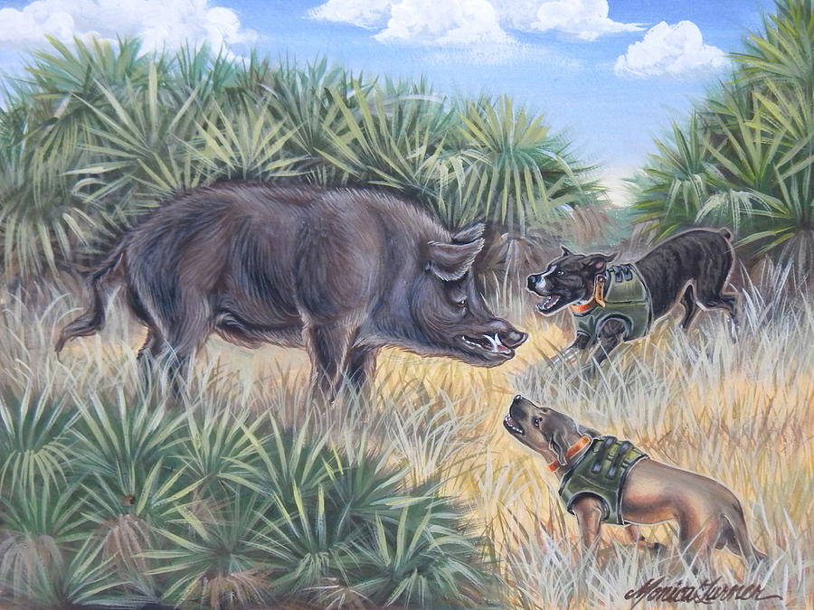 Wild Hog Painting - Brownie And Clyde by Monica Turner