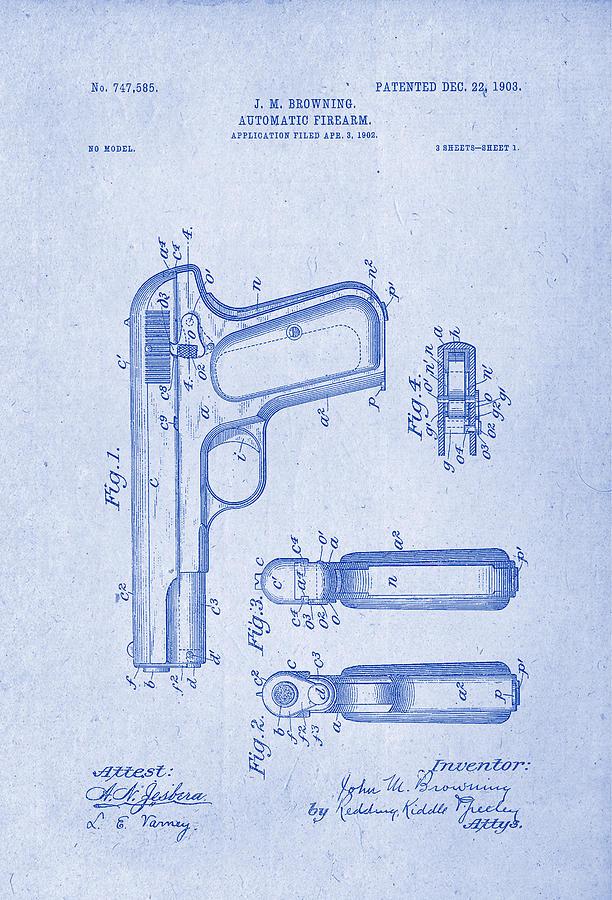 Browning automatic firearm patent drawing 1903 blueprint inverse patent drawing drawing browning automatic firearm patent drawing 1903 blueprint inverse by patently artful malvernweather Choice Image