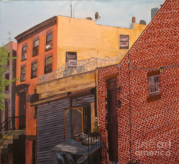 Cityscape Painting - Brownstone And Barbed Wire 50x46 Inches Original  by Iris Lavy
