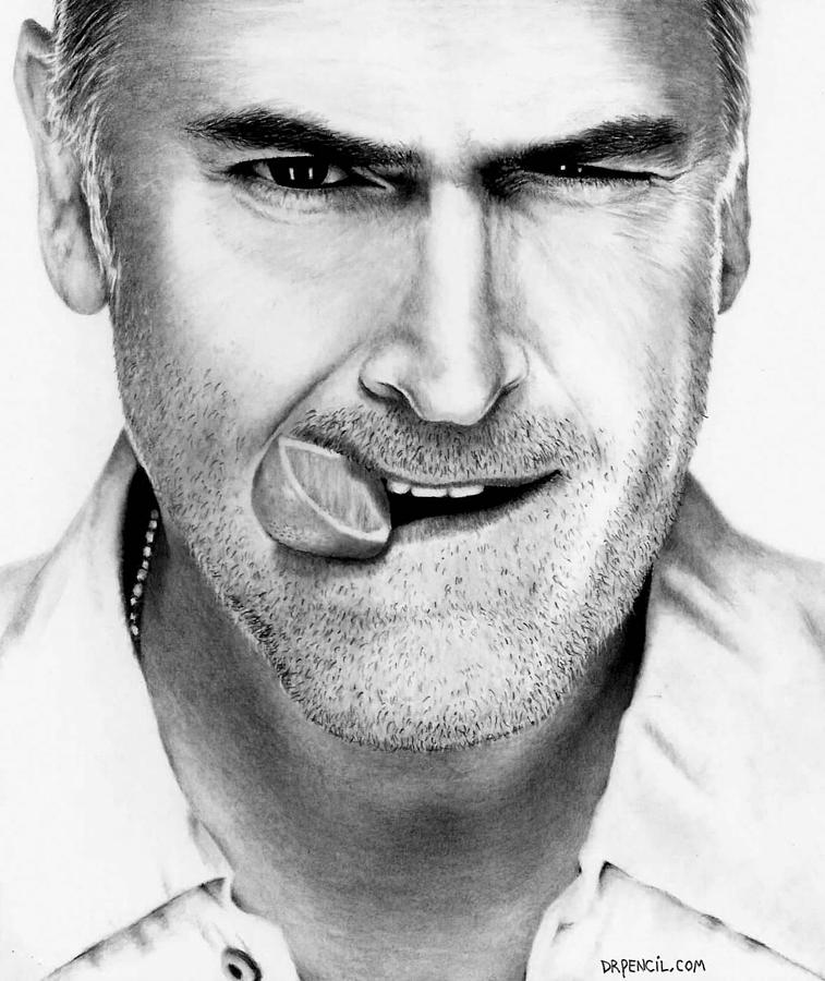Bruce Campbell Drawing - Bruce Campbell by Rick Fortson
