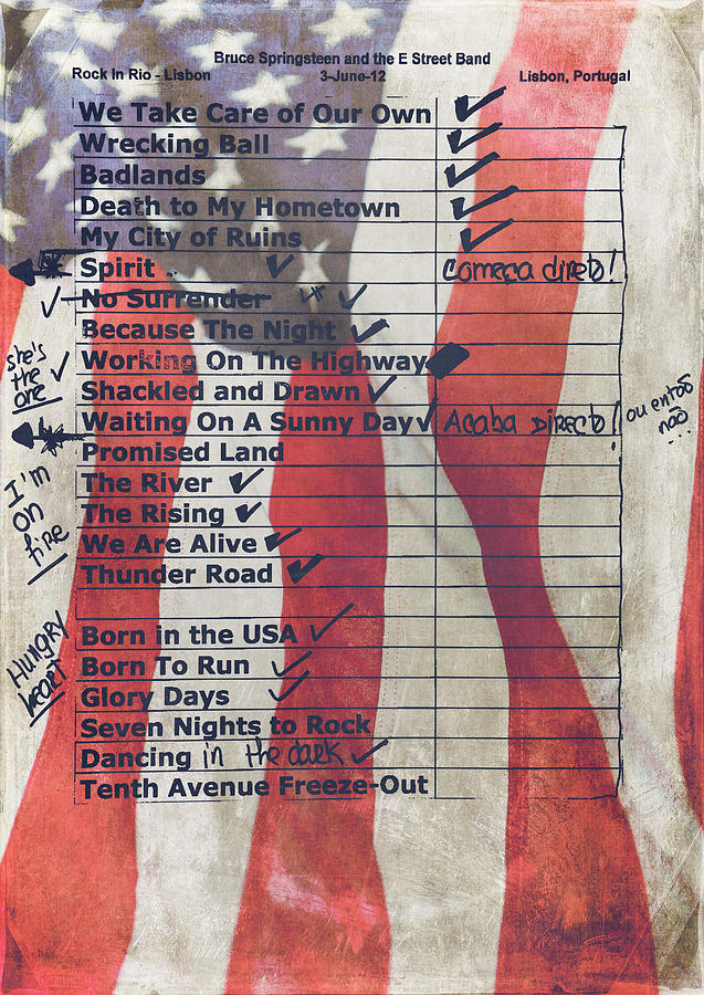 Bruce Springsteen Photograph - Bruce Springsteen Setlist at Rock in Rio Lisboa 2012 by Marco Oliveira