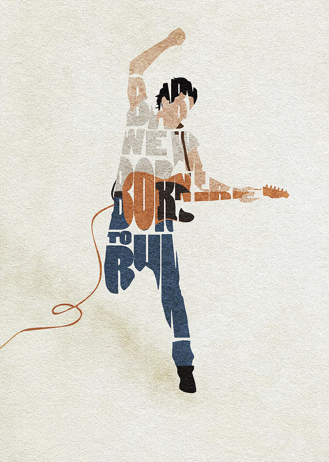 Bruce Springsteen Digital Art - Bruce Springsteen Typography Art by Inspirowl Design