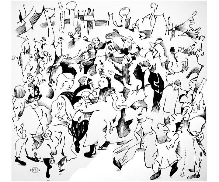 Wedding Drawing - Bruegel Wedding by Gary Peterson