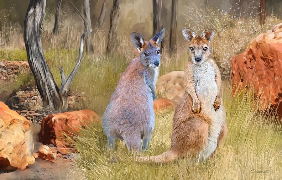 Wallaroos Painting - Brumbie And Byron by Samantha Tro