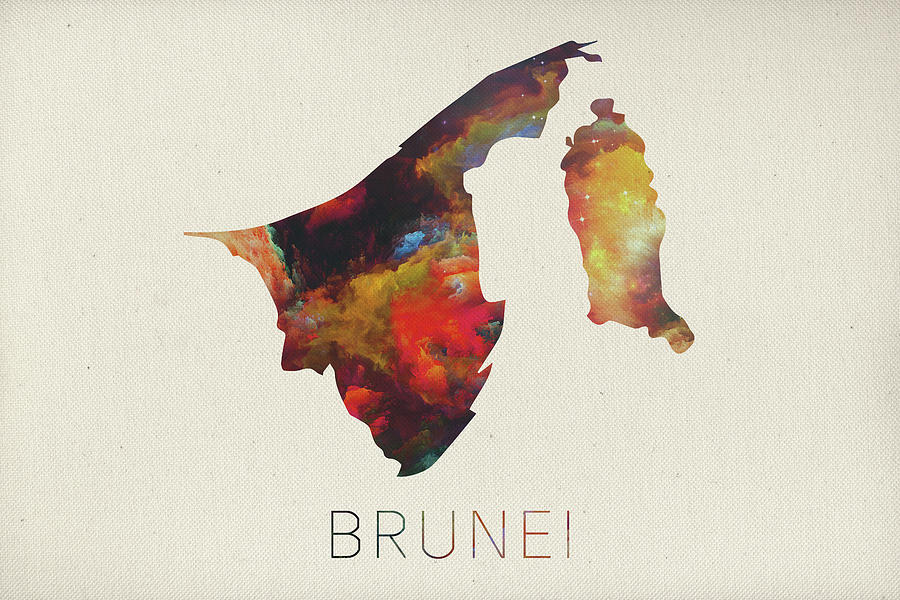 Brunei Mixed Media - Brunei Watercolor Map by Design Turnpike