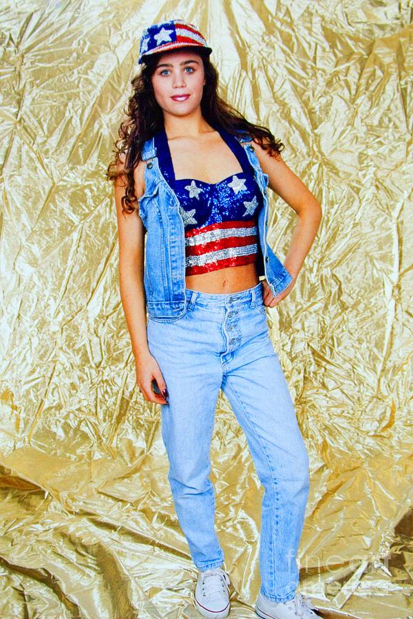 Brunette Model In American Flag Bustier Photograph