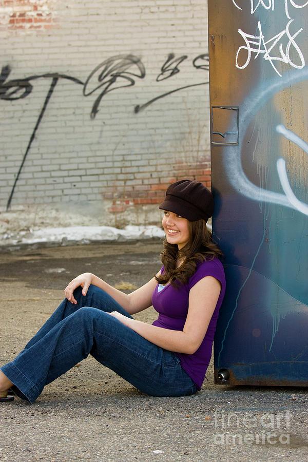 Brunette Teen Downtown Photograph