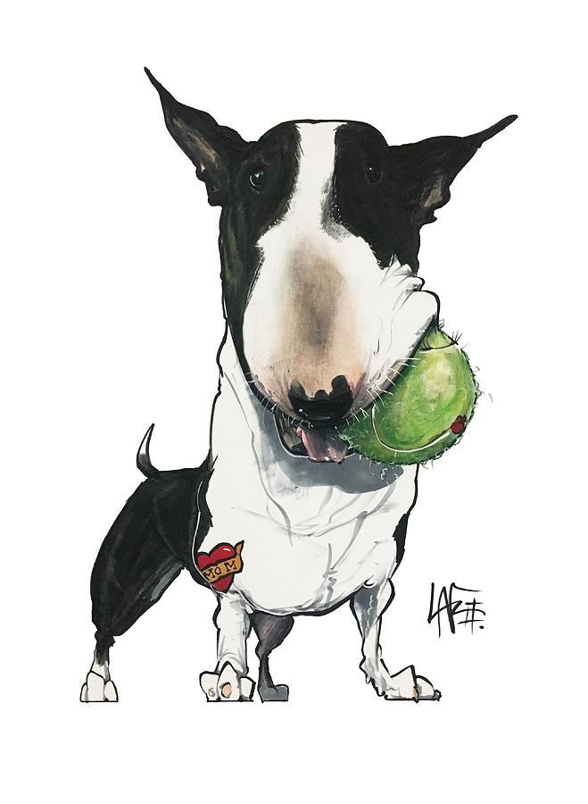 Pet Portrait Drawing - Brunk 3097 by Canine Caricatures Custom Merchandise