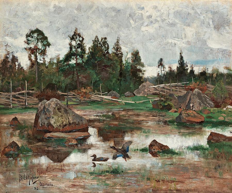 Nature Painting - Bruno Liljefors,   Landscape From Uppland. 2 by Bruno Liljefors