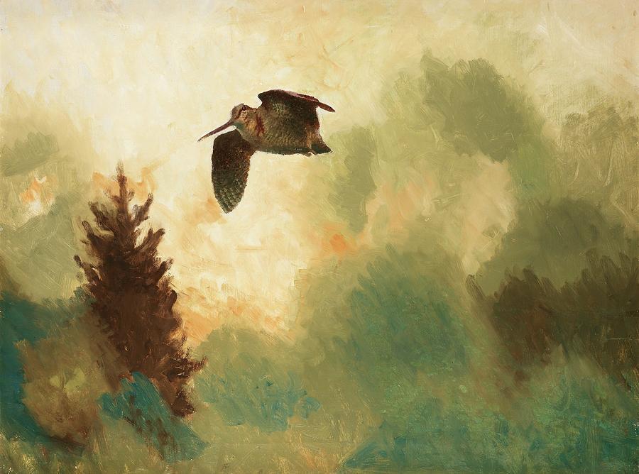 Nature Painting - Bruno Liljefors Swedish, 1860-1939, Landscape With Snipe by Bruno Liljefors