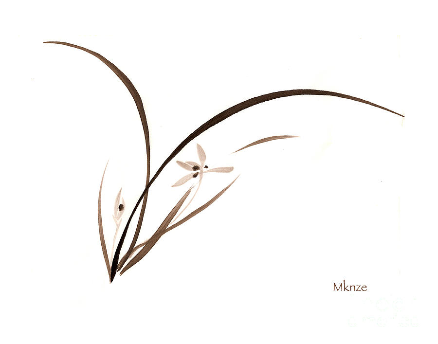 Oriental Grass Painting - Brush Painting 1 by McKenzie Leopold
