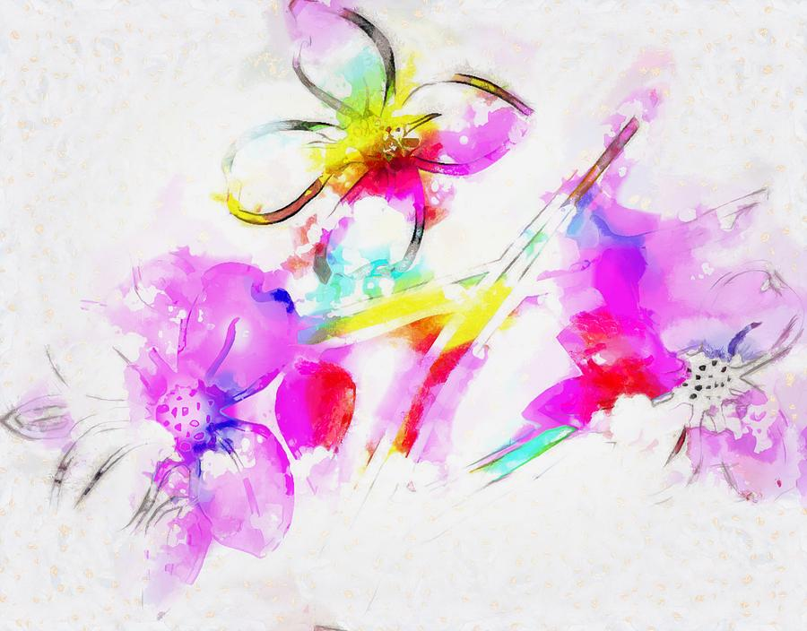 Flowers Digital Art - Brushed Abstract Flowers by Mario Carini