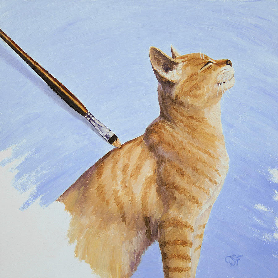 Cat Painting - Brushing The Cat by Crista Forest