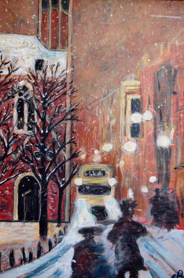Belgium Painting - Brussels At Night by Carolyn Donnell