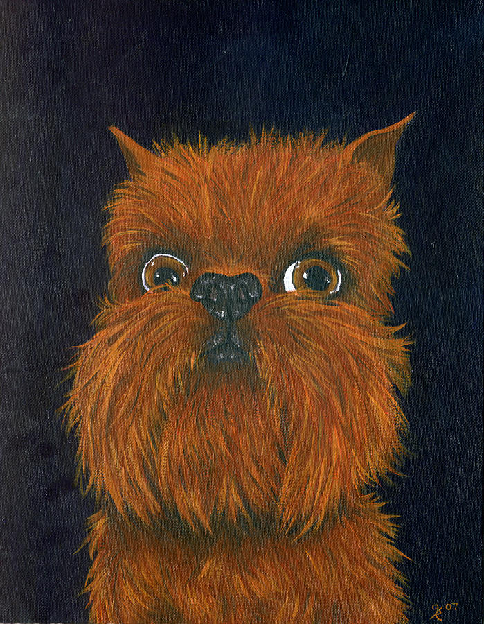 Dog Portraits Painting - Brussels Griffon by Katy Ryan