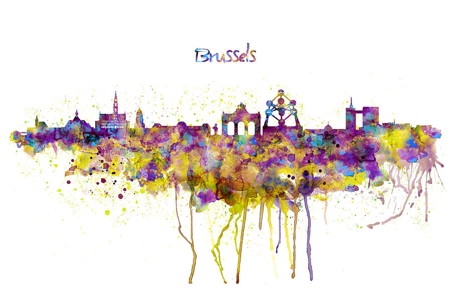 Brussels Skyline Silhouette Mixed Media By Marian Voicu