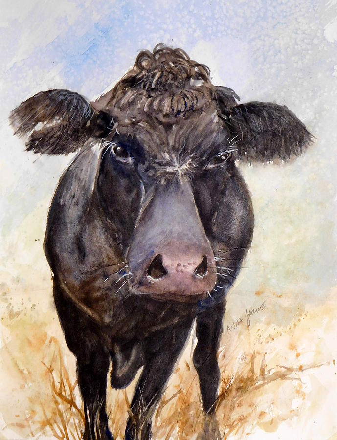 Barnyard Animals Painting - Brutus - Black Angus Cattle by Anna Jacke