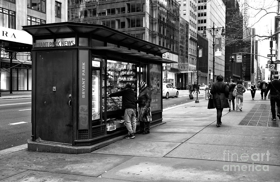 Newsstand Photograph - Bryant Park News by John Rizzuto