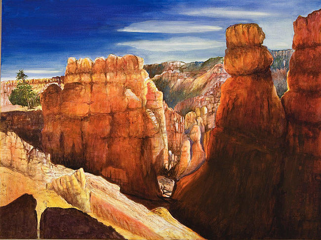 Landscape Painting - Bryce Canyon Pillars by Veda Hale