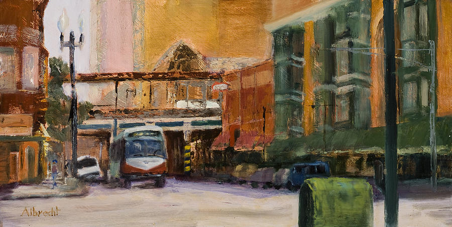 Bus Painting - Bryn Mawr Edgewater El Stop by Nancy Albrecht